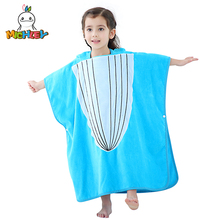MICHLEY Baby Bathrobes Girls Hooded Summer Pajamas Boys Blue Whale Cartoon Breathable Cut Pile Material Childrens Towel WEP-BL