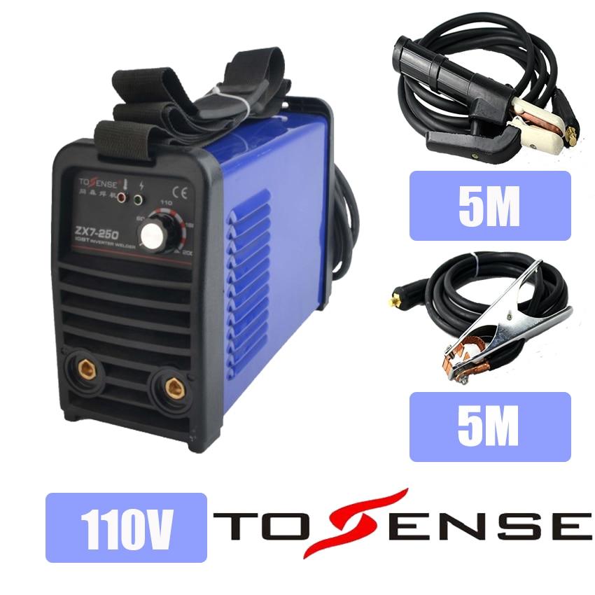 110V Single Voltage New ARC Welding Machine MMA ZX7 250 DC inverter 250A Welder 50/60HZ Longer Ground Clamp & Holder 5M