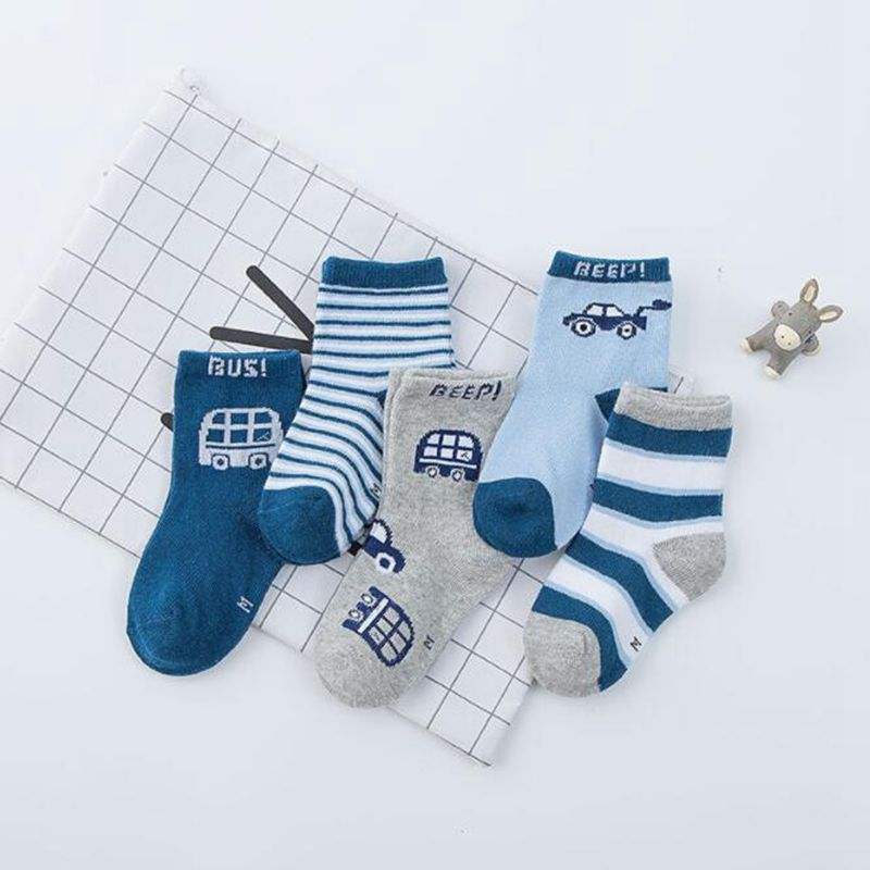 Billiger Preis Unisex 5 Para Weicher Baumwolle Kinder Socken Kinder Winter Socken Jungen Nette Socke Streifen Tier Drucke Cartoon Kinder Kleidung Zubehör Ein BrüLlender Handel