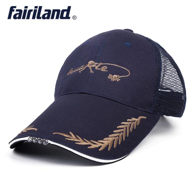 BLACK BLUE baseball cap with led flashlight for night fishing hat running  cap LED sports hat Luminous fishing cap for Unisex 62fbea6a930