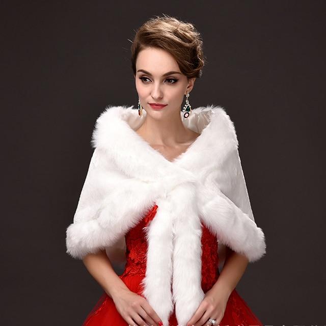 Дешевые Свадебные Свадебные Куртки Обертывания Зима Теплая Искусственного меха Элегантные Дамы вечерние Куртки Свадебный Платок можно носить внутри НАС 10 ху