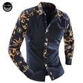 2017 Men'S Fashion Men Shirt Fancy Stitching Tide Slim Square Collar Long-Sleeved Shirt Single-Breasted Shirt XXL TELKDN