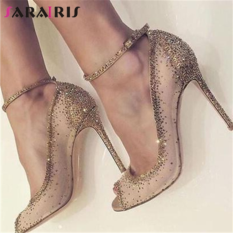 SARAIRIS New Fashion Big Size 35-43 Ankle Strap Crystal High Heels Shoes Woman Casual Wedding Party Sexy Spring Summer PumpsSARAIRIS New Fashion Big Size 35-43 Ankle Strap Crystal High Heels Shoes Woman Casual Wedding Party Sexy Spring Summer Pumps
