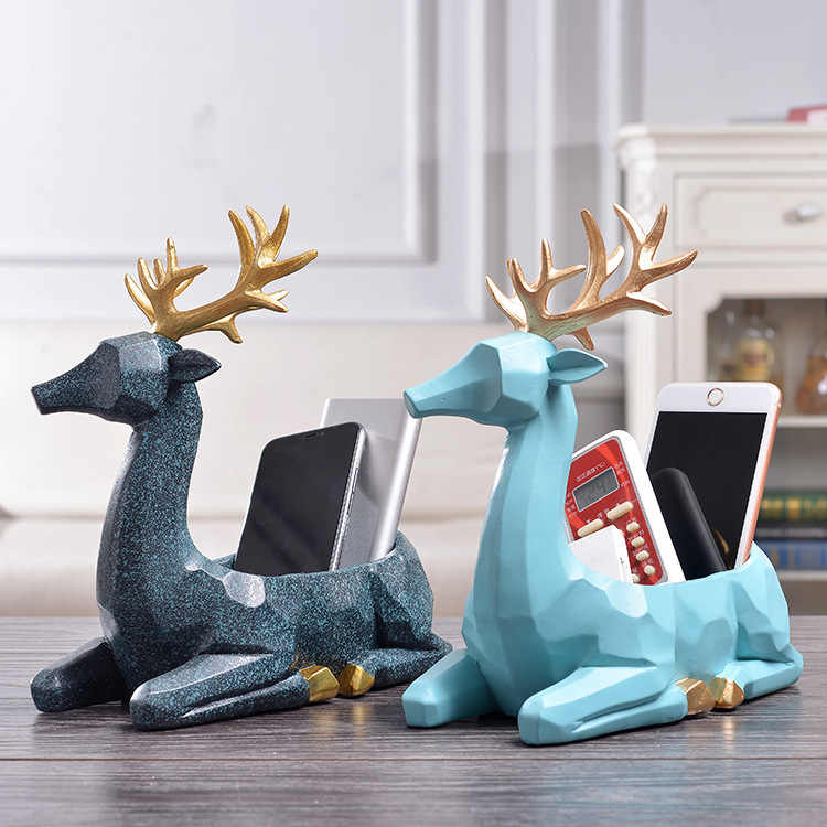 Organic Material Resin Deer Figurines Key Organizer Desktop Decorative Ornaments Antique Home Decor Decoration Accessories