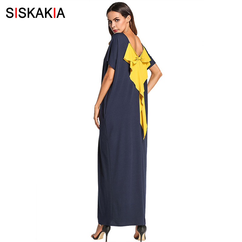 Siskakia Fashion contrast color Bow patchwork design maxi long dress wo