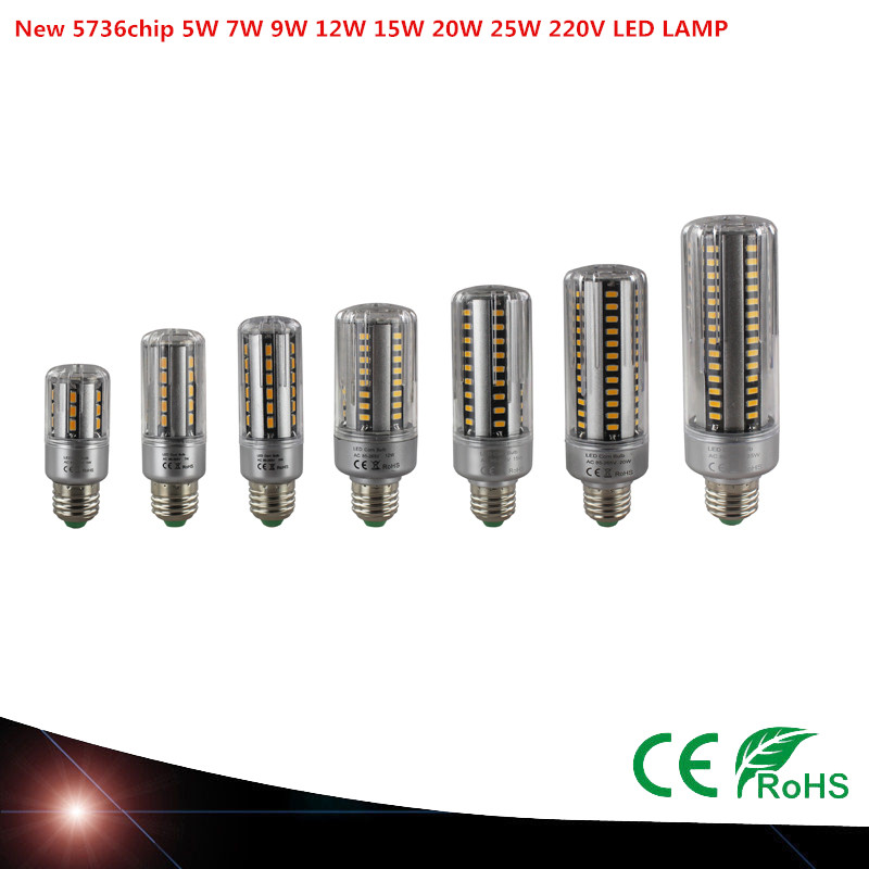 20X E27 LED Lamp SMD 5736 LED Corn Bulb 5W 7W 9W 12W 15W 20W 25W LED Corn Light AC220V No Flicker Chandelier Light white/warm