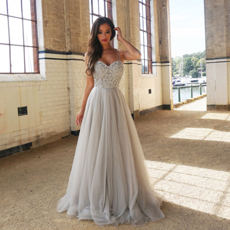 59216fc1f24 BeryLove Fashion Grey Sliver Prom Dresses 2018 Beaded Tulle Prom Gowns Long  Formal Evening Dress Party