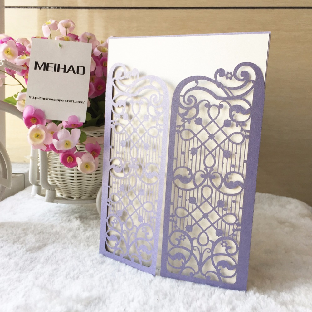 Purple &Gold &Chinese red laser cutting music notes invitation card ...