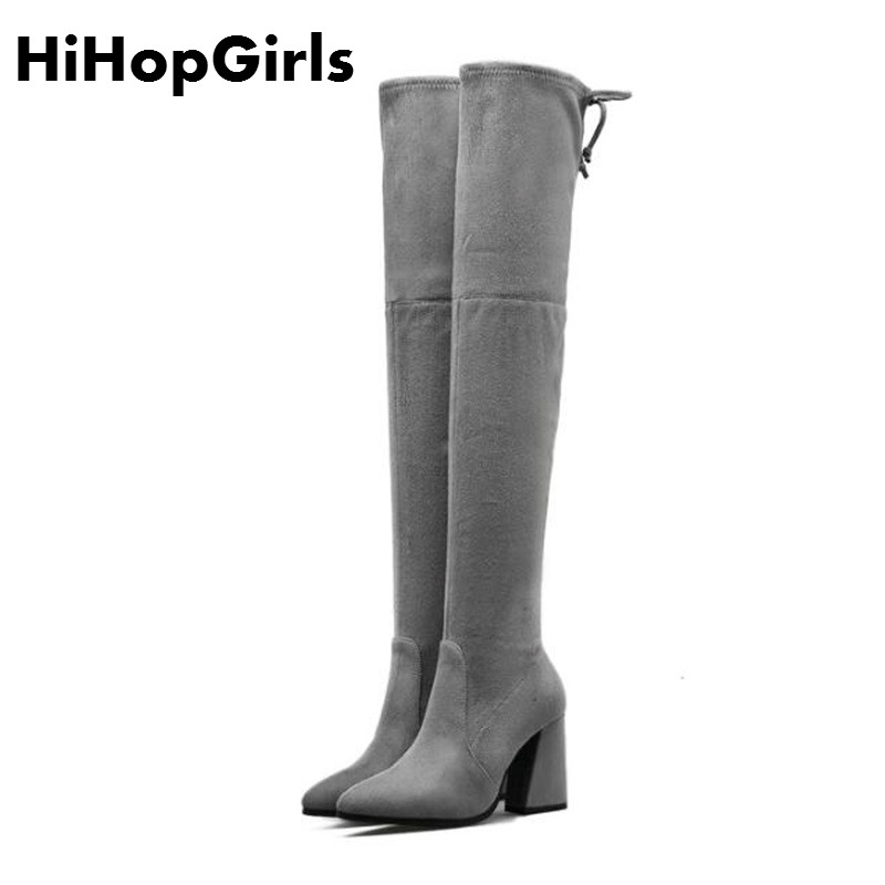 HiHopGirls Hot women winter Square heels Motorcycle boots Pointed toe was thin Knee Pack legs shoes Flock snow boots #DFGDGH hot selling 2015 women denim boots pointed toe tassel patchwork knee high boots crystal thin high heels winter motorcycle boots