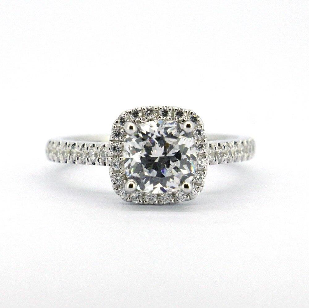 Bague de fiançailles de mariage CZ en argent Sterling 925 solide bien faite