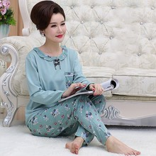 Free shipping Long sleeve length pants sleepwear female autumn  plus size o-neck sleepwear female 100% cotton lounge set 4xl