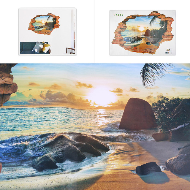 Beach Sunshine Scene Wall Stickers Decals For Home Bedroom Decoration