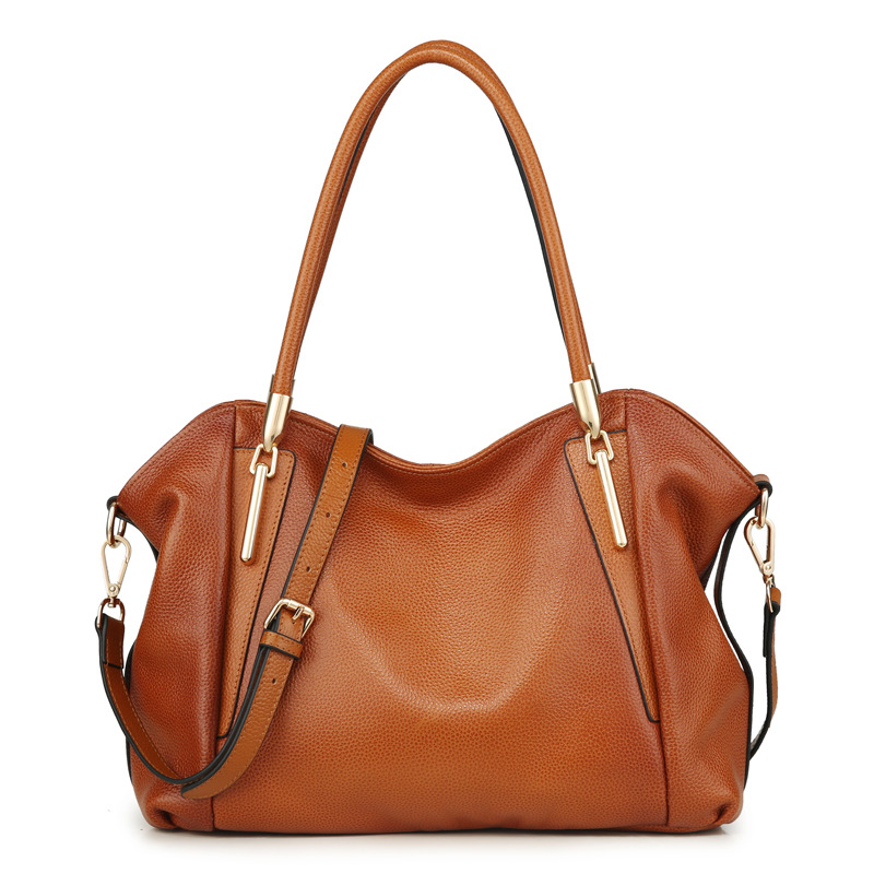 Fashion soft face solid color Genuine Leather designer handbags high quality wing design two-color brown women tote bag день сюрпризов