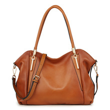 Fashion soft face solid color Genuine Leather designer handbags high quality wing design two-color brown women tote bag