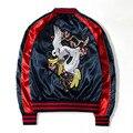 Мужчины ретро цветочные вышивка бомбардировщик куртка ma1 пилот ветровка женщины harajuku повседневная атласная сувенир куртки и пальто