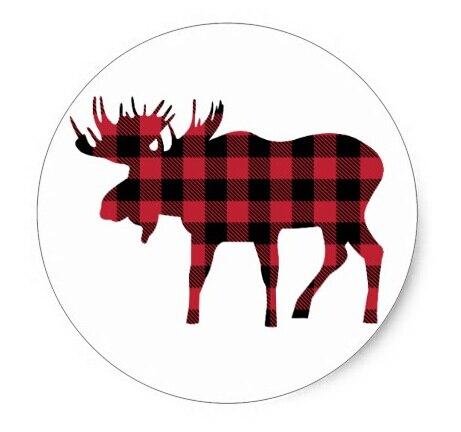 7c1761b7 3.8cm Buffalo Plaid Moose, Lumberjack Style, Red Black Classic Round Sticker