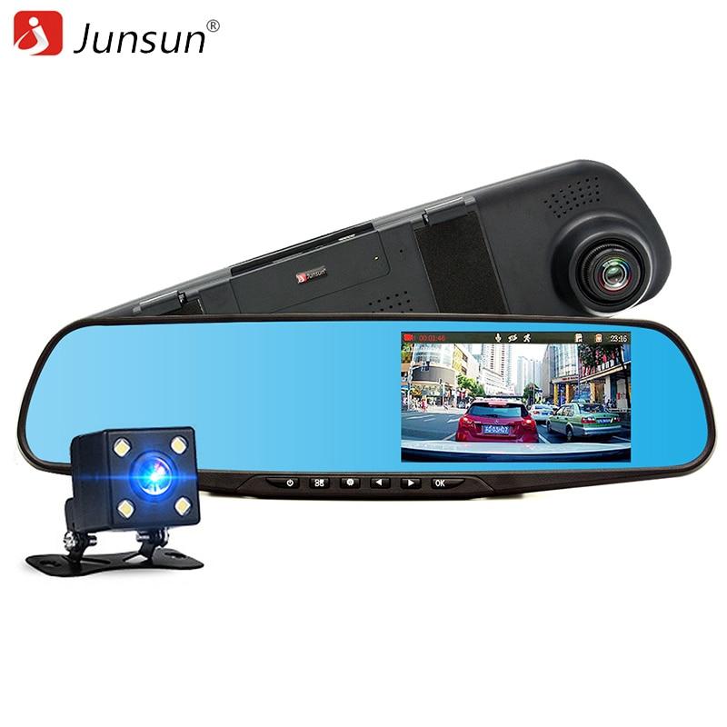 """imágenes para 4.3 """"Junsun Espejo Retrovisor Coche DVR con dos cámara FHD 1080 P Grabador de Vídeo Dual de la Lente g-sensor DVR Espejo automóvil Dash cam"""