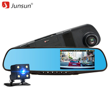 4 3 Junsun Rearview Mirror Car DVR with two font b camera b font FHD 1080P