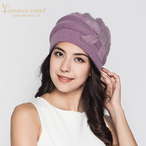 Image 3 - Charles เพอร่าผู้หญิงถักหมวกฤดูหนาว Thicken Double Layer Elegant Casual กระต่าย Hair Blend หมวกผู้หญิงหญิง Beanies D304