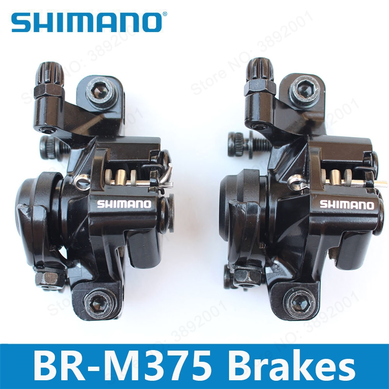 Shimano BR-M375 Mechanical Disc Brake Calipers for Acera Alivio Deore with Resin Pads M375 caliper Front / Rear / Pair w/ Screws shimano road cyclocross br rs805 disc brake flat mount caliper w fin pads front