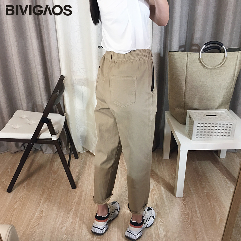 Image 3 - BIVIGAOS 2019 New Spring Women Clothing Straight Overalls Casual Harem Pants Korean Elastic Waist Triangle Buckle Cargo Pants-in Pants & Capris from Women's Clothing