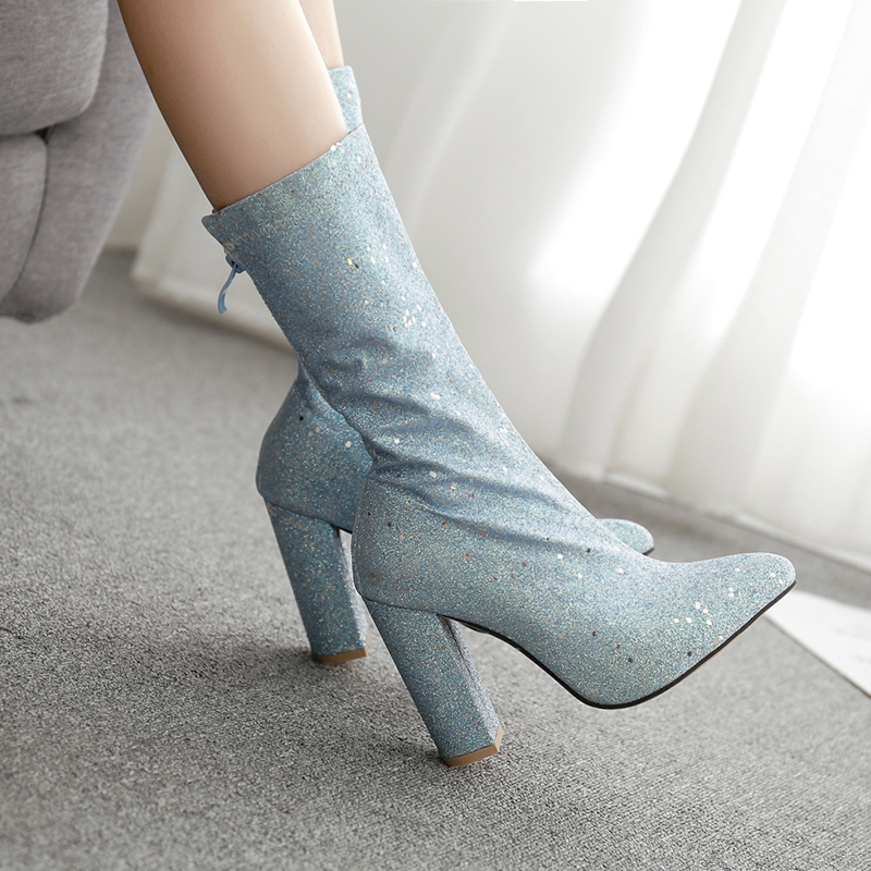 Women 39 s Boots Pointed Toe Thick Heel Women Boots NIUFUNI 2019 New High Heels Mid Calf Boots Ladies Casual Silver Women 39 s Shoes in Mid Calf Boots from Shoes