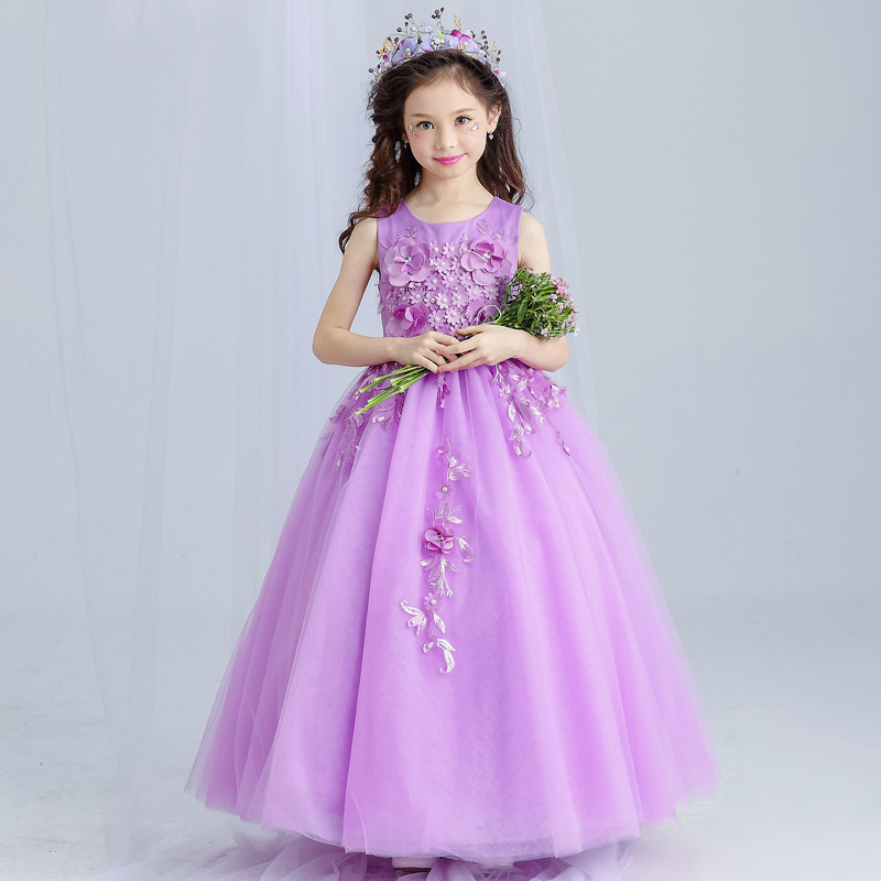 Fashion Flower Girls Purple Dresses For Teenager Girl Princess Party And Wedding Pageant Dress 2017 Little Girls Long Clothing summer 2017 new girl dress baby princess dresses flower girls dresses for party and wedding kids children clothing 4 6 8 10 year