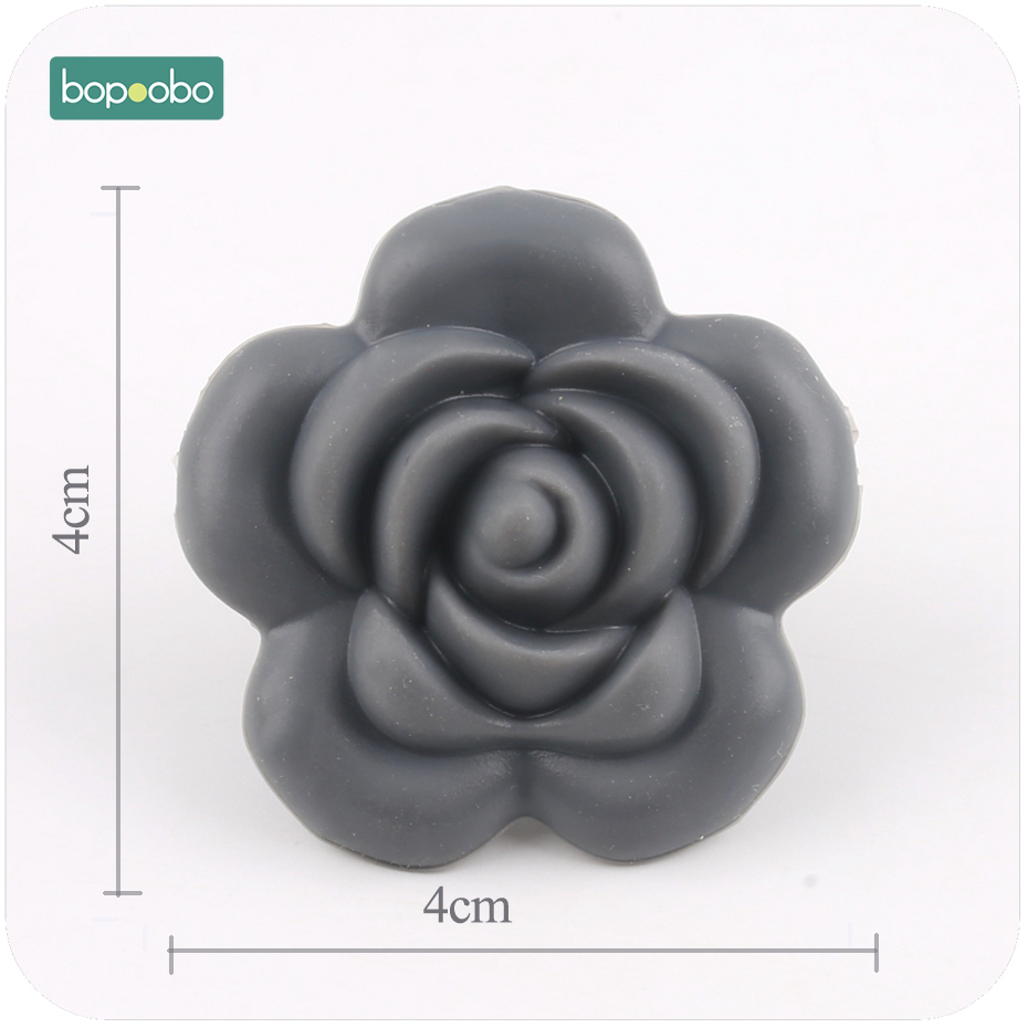 Mother & Kids Bopoobo 5pc Bpa Free Silicone Teether Rose Beads Silicone Flower Pendant Food Grade Teether Diy Crafts Sensory Chewing Toy