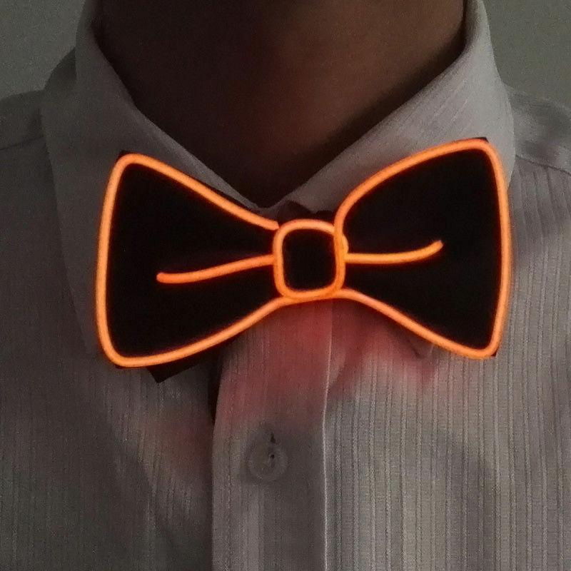 Новейший мужской светодиодный галстук на проволоке галстук-бабочка мигающий светильник El Wire галстук-бабочка светодиодный мужской светильник s галстук-бабочка свадебные светящиеся вечерние принадлежности - Цвет: Оранжевый