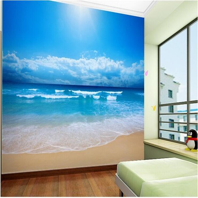 Customize 3d Photo Wall Paper European Non Woven Wallpaper Bedroom Ocean  Sky Ocean Beach Wall