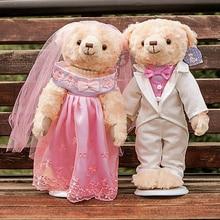 2 pcs/lot 38cm Lovely Couple Wedding Teddy Bear Plush Toys Dolls Stuffed Toy Kids Baby Children Girl Birthday Christmas Gift