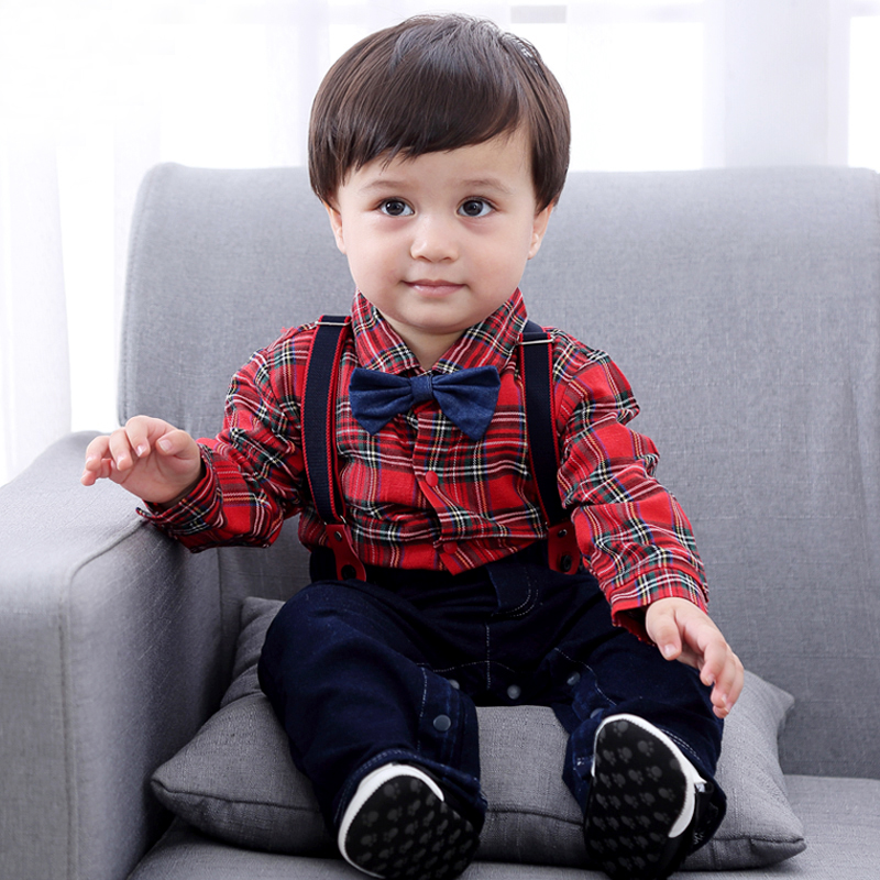 Baby Toddler Boys Suit Vest Outfit Set Red Velvet Vest Shirt Hat Bow Tie
