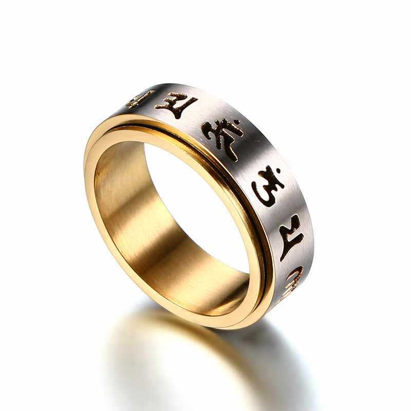 """ZORCVENSสวดมนต์แหวนผู้ชายสแตนเลสทิเบตพุทธหกTrue Syllable Mantra """"Om Mani Padme Hum"""" Spinnerแหวน"""