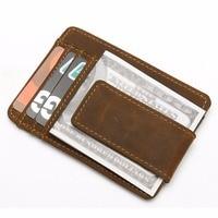 KUDIAN BEAR Genuine Leather Money Clips Magnet Minimalist Men Wallet Clamps For Money Slim Front Pocket