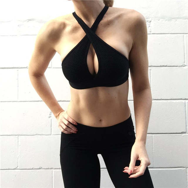 516e6322de placeholder New Women Sexy Sports Bras Quick Dry Gym Criss Cross Hollow Out  Patchwork Top Training Running