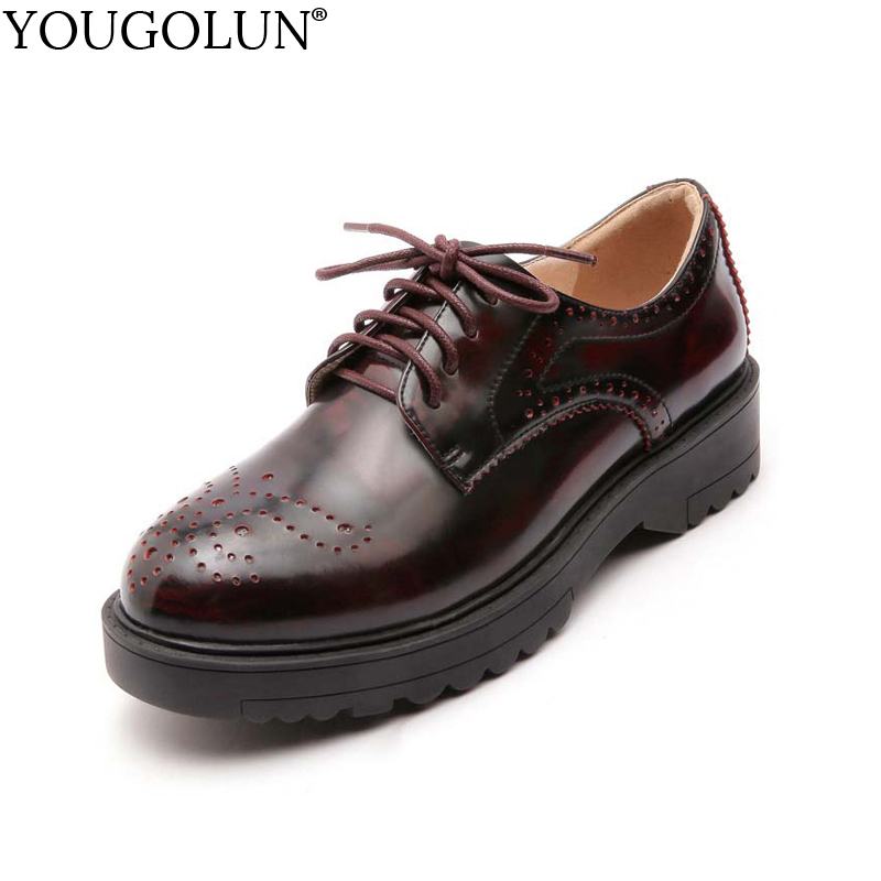 YOUGOLUN Women Brogue Shoes Spring Autumn Genuine Cow Leather Hollow Black Lace Up Flat Shoes Wine Red Casual Knot Flats #A-011 lovexss genuine leather brogue shoes black red casual lace up flats 2017 spring autumn fashion patent leather brogue shoes