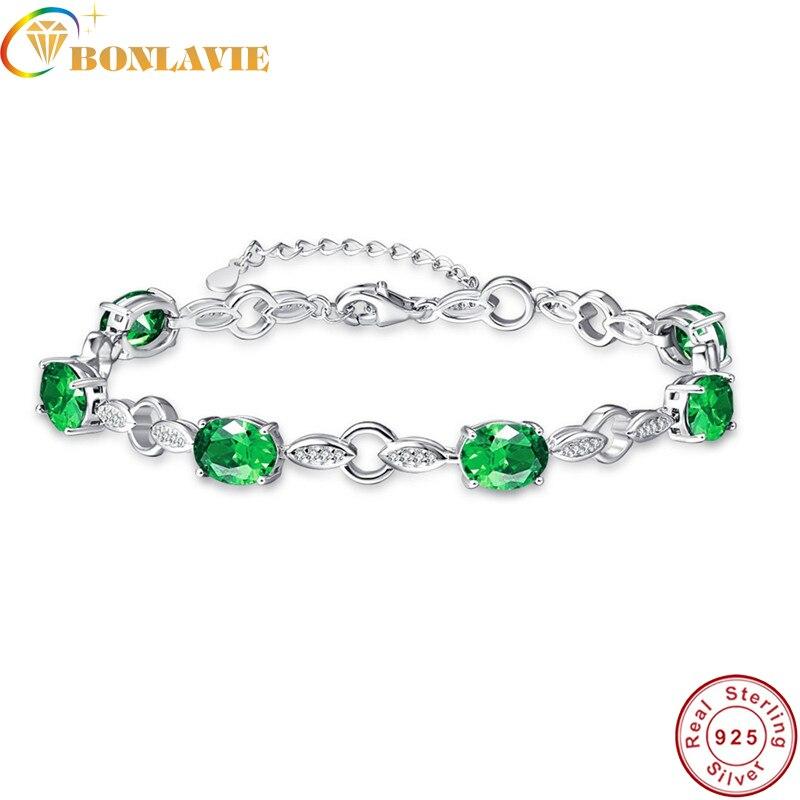 BONLAVI Wedding Bracelet Created Emerald High Quality 8.99g s925 bracelet Charm Bracelets For Women Bracelets & bangles
