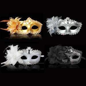 Image 1 - Sexy Diamond Venetian Mask Venice Feather Flower Wedding Carnival Party Performance Purple Costume Sex Lady Mask Masquerade
