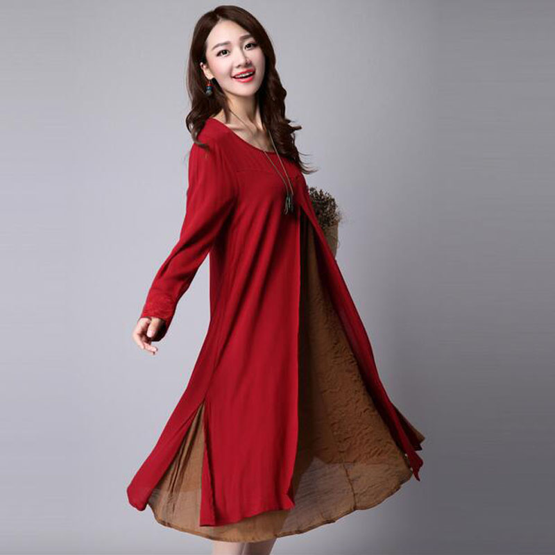 Linen Maternity Dress For Pregnant Women Autumn Long Sleeve Dress Casual Patchwork Pregnancy Vestidos Gravidas Dress Clothing