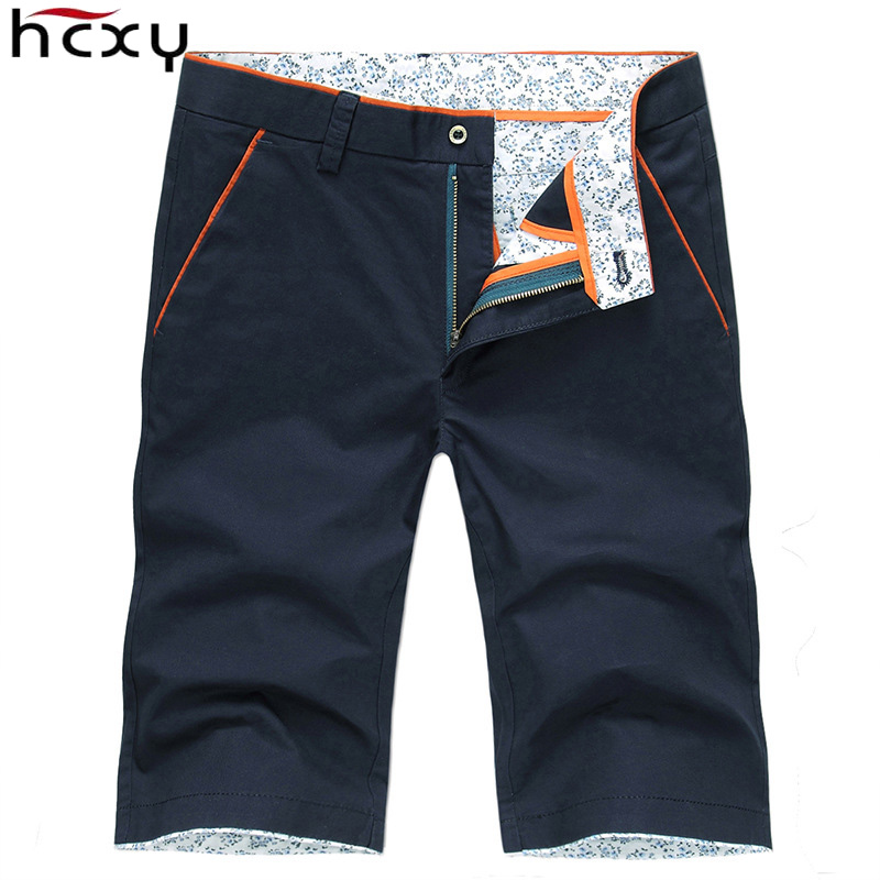 HCXY 2019 Summer Men's Casual   Shorts   Men Full Cotton Slim Bermuda Masculina   Shorts   male   Short   Solid color knee length Size 38