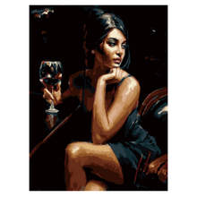 цена RIHE Drinking Woman Framed Pictures DIY Painting By Numbers Wall Art Acrylic Paintings Handpainted Home Decor For Living Room