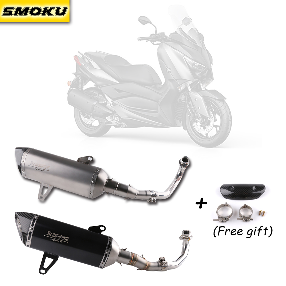Xmax 300 Laser LOGO Akrapovic Exhaust Pipe Carbon Fiber Muffler Exhaust Pipe For Yamaha XMAX 250 300 cc 2017-18