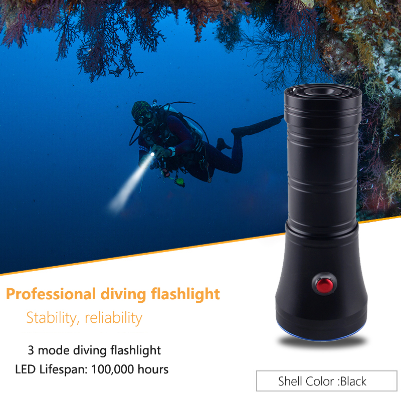 3 MODE High-Low-Strobe LED Diving Flashlight 1000LM 10W L2 Rechargeable waterproof 18650 Underwater Tacticaldive light Lantern