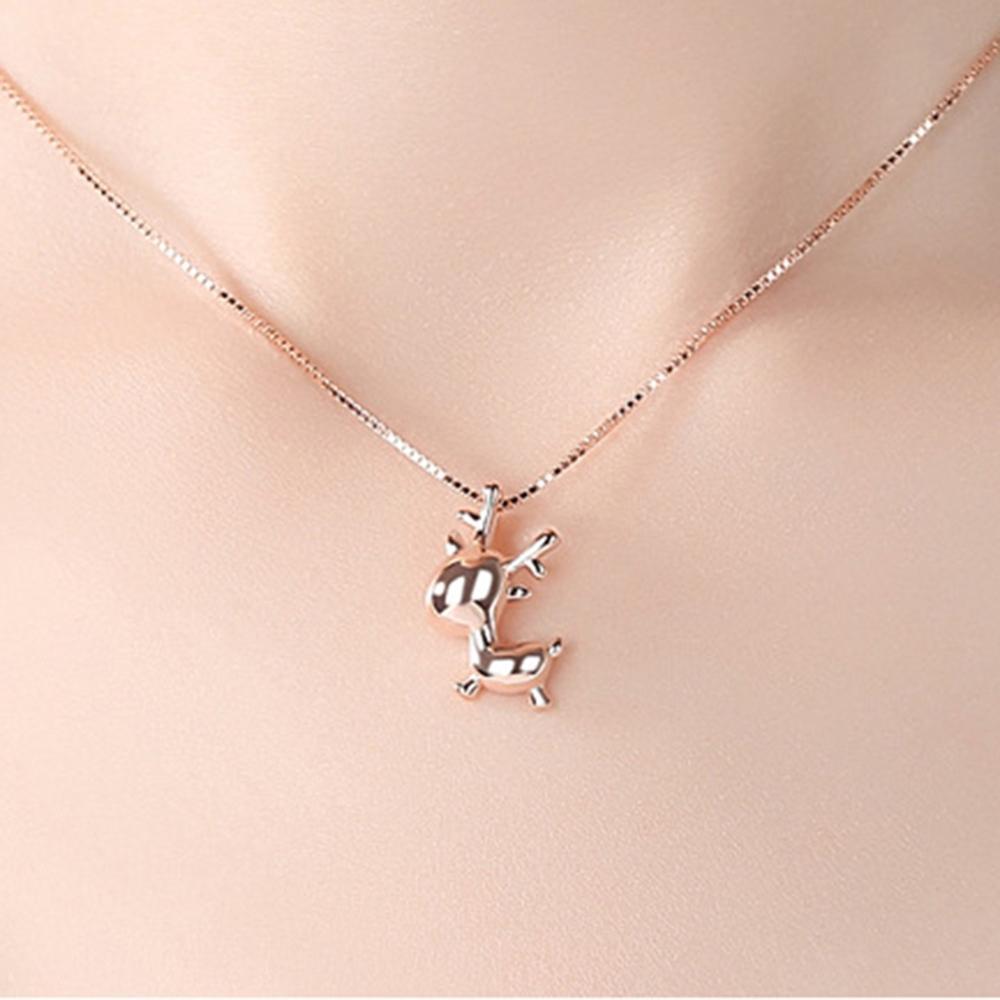 imixlot Golden Elk Necklace for Women Personality Hip Hop Animal Antler Pendant Gold Silver Metal Short Jewelry