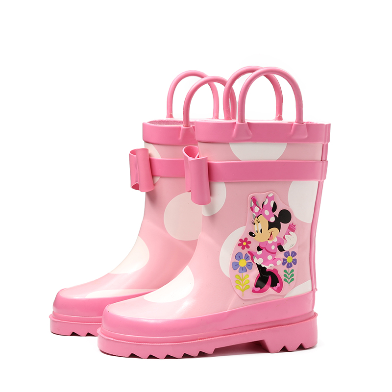 2018 New Spring Children Rain Shoes For Girls Kids Fashion Princess Handle Rain Boots Cartoon Minnie Rubber Boots Baby Overshoes