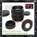 50mm F1.4 CCTV TV Lente C Adaptador de Montaje Para Canon EOS M EOS-M M2 M3 M10 EOSM3 MarkII Cámara PA222