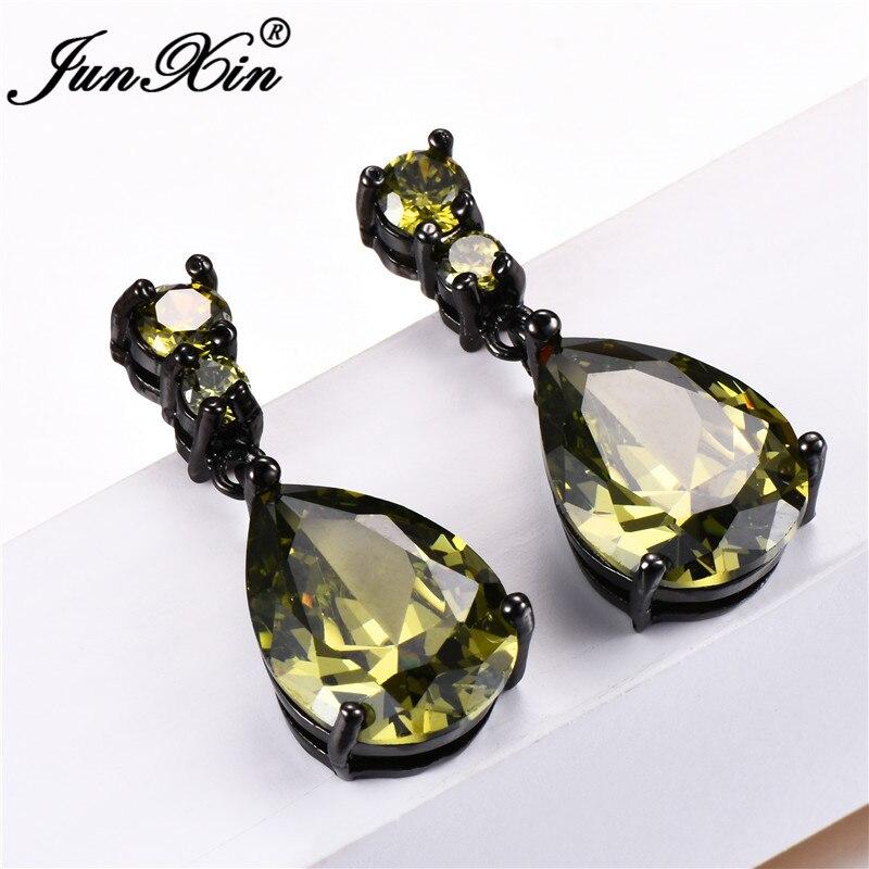 JUNXIN Olive Green/Purple/White Teardrop Stone Drop Earrings For Women Black Gold Filled Water Drop Zircon Birthstone Earrings