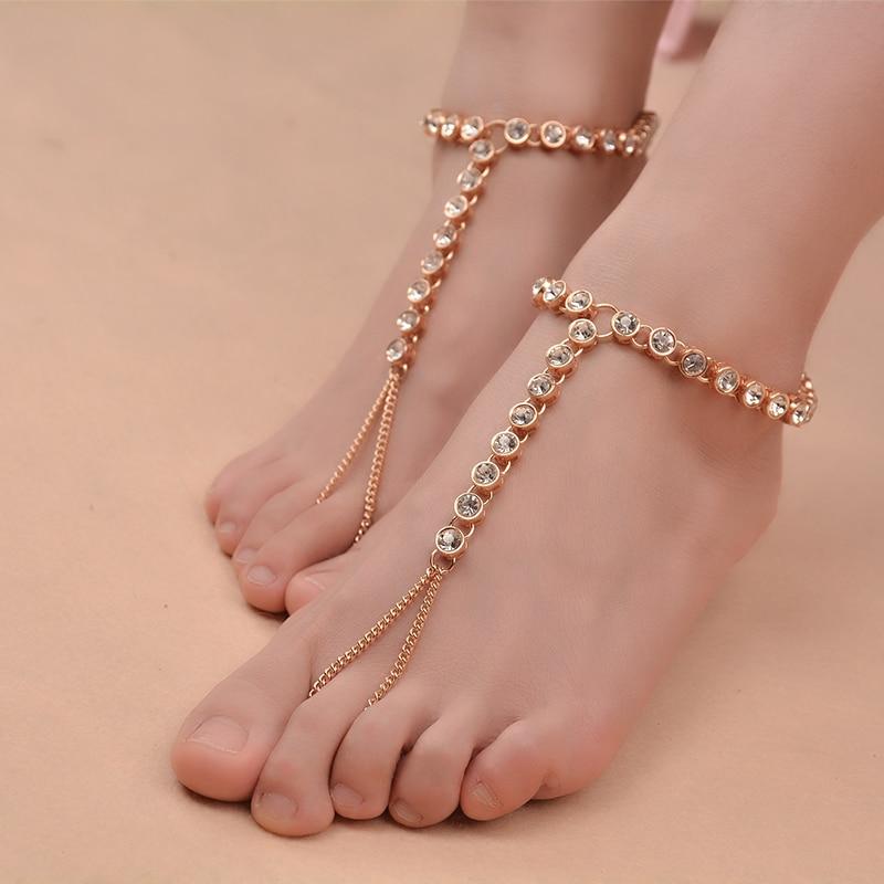 1 PC Bohemian Vintage Anklet Simple Rhinestone for Women Tassel Gem Foot Jewelry Barefoot Sandal Multilayer Anklet Beach Wedding