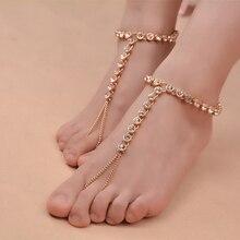 bdcf008ea6d8ae 1 PC Bohemian Vintage Anklet Simple Rhinestone for Women Tassel Gem Foot  Jewelry Barefoot Sandal Multilayer