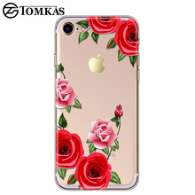 TOMKAS Flower Case For iPhone X 8 7 6 6s 5 5s SE Floral Red Rose Clear Silicone Phone Bags Cover For iPhone 7 Plus 6 Plus Cases(China)